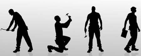 construction work: Vector silhouette of a man who is a worker and has the tools.