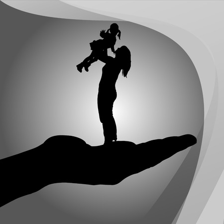 mother's: Vector silhouette of a family on palm on white background. Illustration