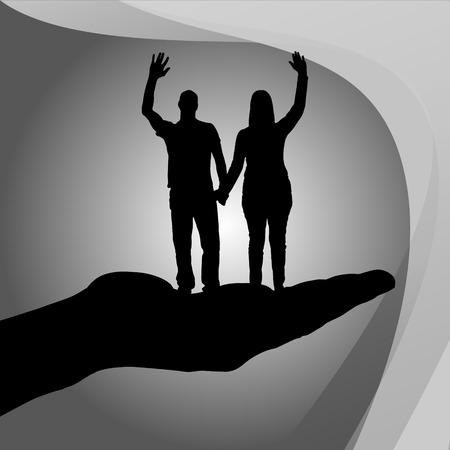 dattelpalme: Vector Silhouette Paar auf der Handfl�che auf wei�em Hintergrund.