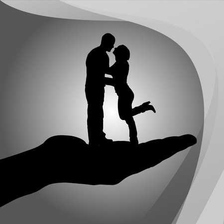 date palm: Vector silhouette of couple on palm on white background.