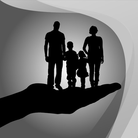 protect family: Vector silhouette of a family on palm on white background. Illustration