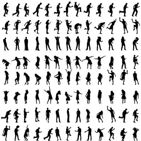silouette: Vector silhouettes of people who dance on white background.