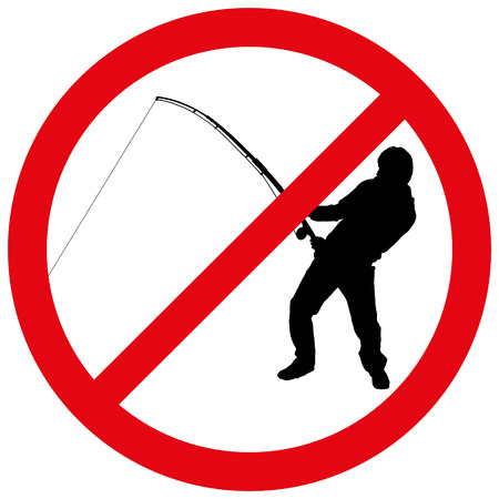 fisher man: Vector illustration of a prohibition of fishing.