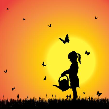 Vector silhouet van een meisje met vlinders.