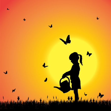 young: Vector silhouette of a girl with butterflies.