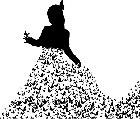 Vector illustration of a princess with butterflies on a white background. Vector