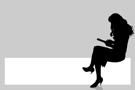 woman reading book: Vector silhouette of a woman with a sign for text.