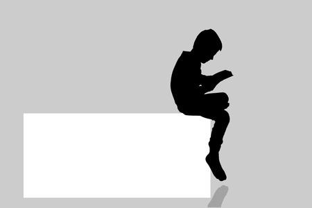 niños leyendo: Vector silueta de un niño con un cartel para el texto.