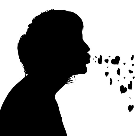 Vector silhouettes of people on black background. Vector