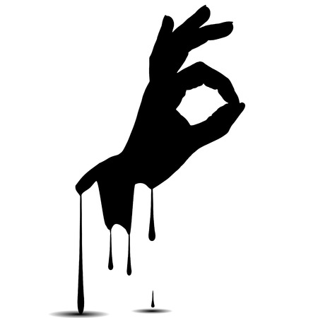 Vector silhouettes of hand on white background. Vector