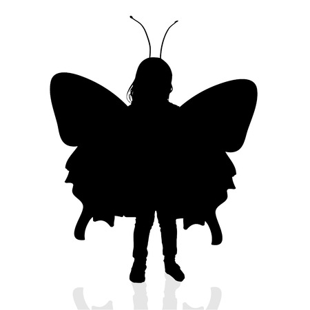 butterfly myth: Vector silhouette of a girl with a butterfly.