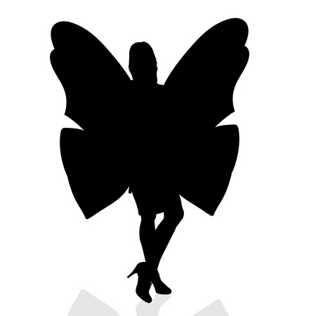 striptease: Vector silhouette of a woman as a butterfly.