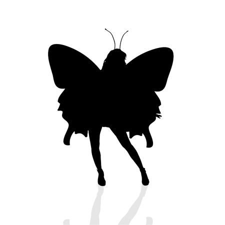 Vector silhouette of a woman as a butterfly. Vector