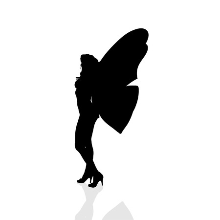 butterfly myth: Vector silhouette of a woman as a butterfly.
