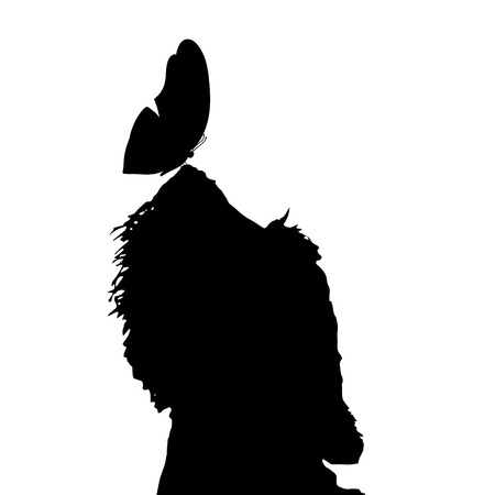 silhouette dog: Vector silhouette of a dog with butterfly.