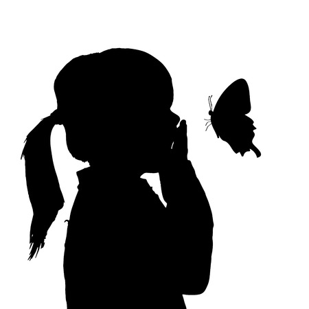 Vector silhouette of a girl with a butterfly. Vector