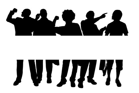 sexy men: Vector silhouette of a man with a sign for text.