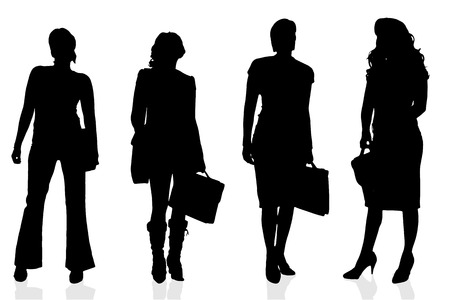 sexy business women: Vector silhouette of a woman on a white background.