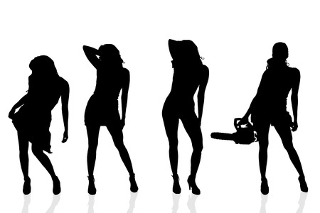 striptease women: Vector silhouette of a woman on a white background.