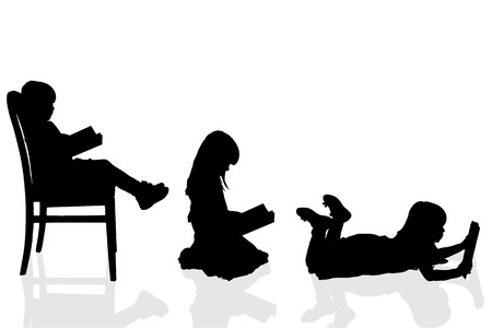 toddler girls: Vector silhouette of a girl on a white background.