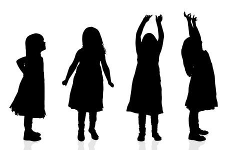 Vector silhouet van een meisje op een witte achtergrond. Stock Illustratie
