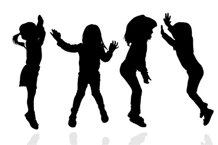 young people fun: Vector silhouette of a girl on a white background.