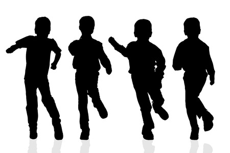 scamp: Vector silhouette of a boy on a white background.