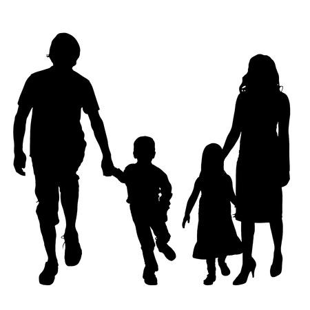 Vector silhouet van een familie op een witte achtergrond. Stock Illustratie