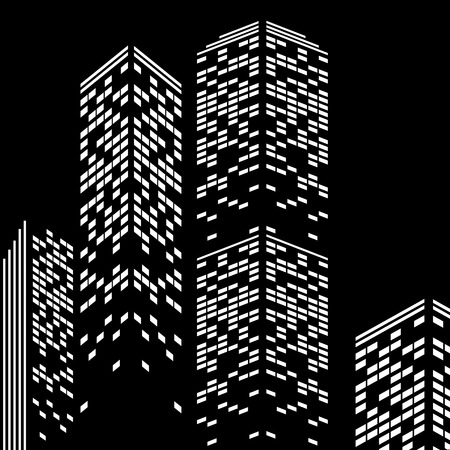midtown: building with illuminated windows in the evening Illustration