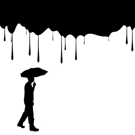 silhouettes of people with umbrella on a white background. Vector