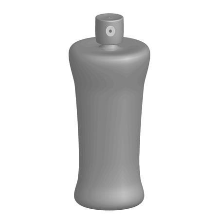 hairspray: botella de spray de color gris sobre un fondo blanco Vectores