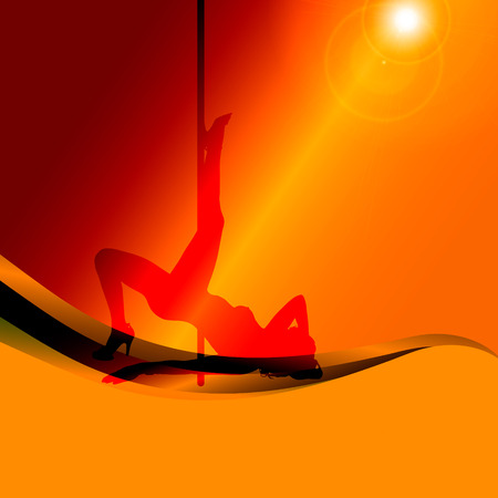 striptease: silhouette of woman on a orange background