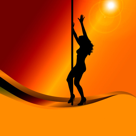 pole dance: silhouette of woman on a orange background