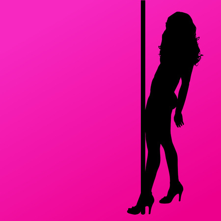 striptease: silhouette of woman on a pink background