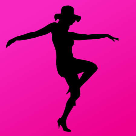 pole dance: silhouette of woman on a pink background