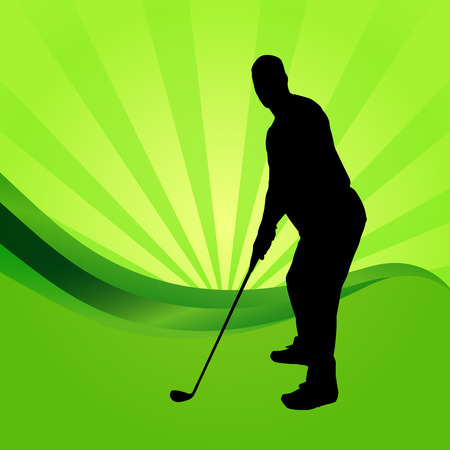 silhouettes of golfer on a green background. Vector