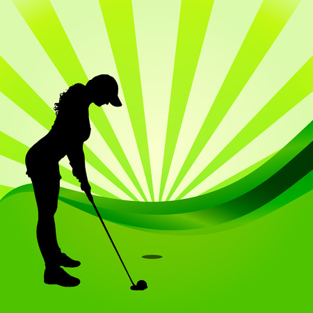 silhouettes of golfer on a white background.