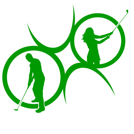 Vector silhouettes of golf on a white background. Vector