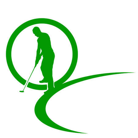 golf swing: silhouettes of golfer on a white background.