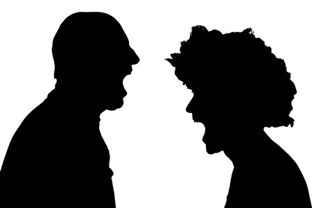 hassle: silhouette of a man on a white background. Illustration