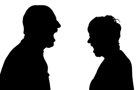 hassle: silhouette of a couple on a white background. Illustration