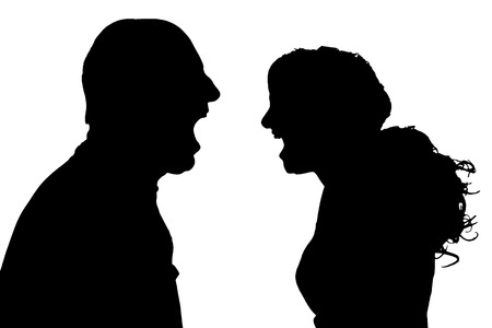 silhouette of a couple on a white background. Иллюстрация