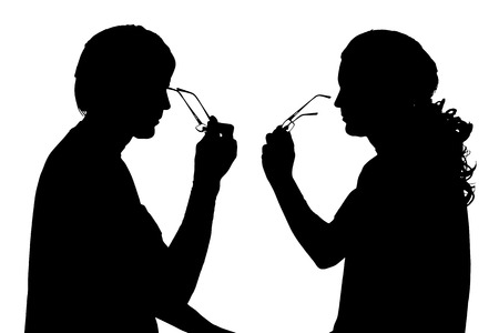 profil: silhouette of a couple on a white background. Illustration