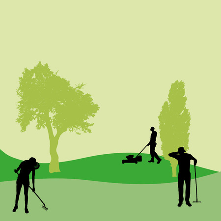 couple back to back: Vector silhouette of people who work in the garden. Illustration