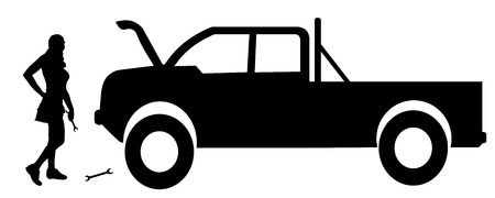 repairs: Vector silhouette car repairs on a white background. Illustration
