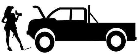 Vector silhouette car repairs on a white background. 向量圖像