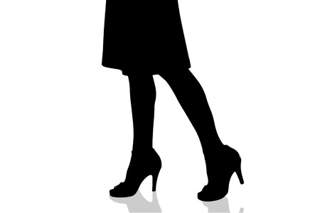 girls feet: Vector silhouette of female feet on a white background.