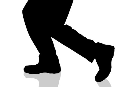 haste: Vector silhouette of male feet on a white background. Illustration