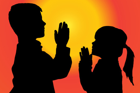 silhouette of children who pray at sunset. Illustration