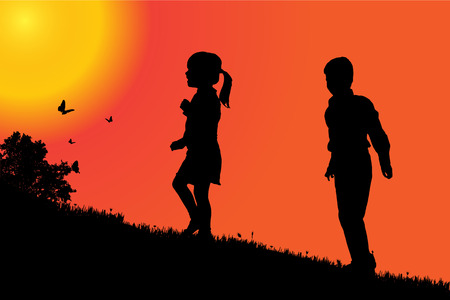 sunset sky: Vector silhouette of a children at sunset.